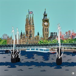 Big Ben River View by Dylan Izaak -  sized 32x32 inches. Available from Whitewall Galleries